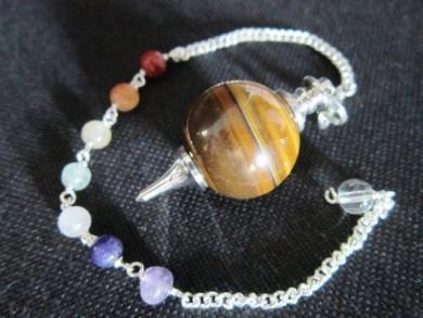 Yellow tiger Eye Ball pendulum with Chakra chain