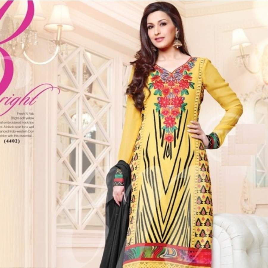 Yellow & Black Georgette Sonali Bendre Salwar Kameez