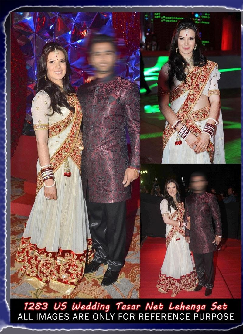 White and Red Tasar Net Dupatta with nice Velvet Border Bollywood Replica Lengha Choli 743-1283