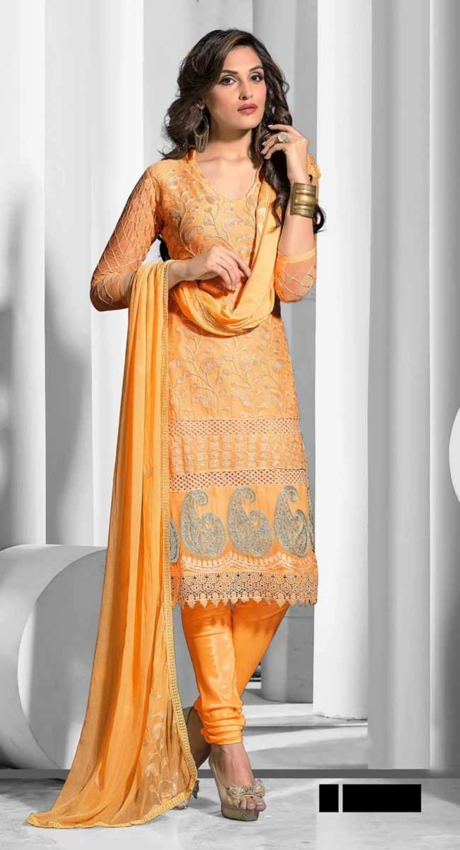Yellow color Partywear salwar kameez-Chiffon Salwar Kameez