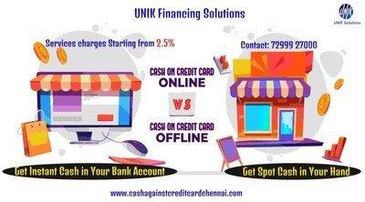 Cash against credit card online Vs offline in Chennai
