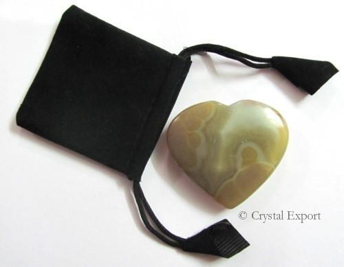 Agate Stone Puffy Heart