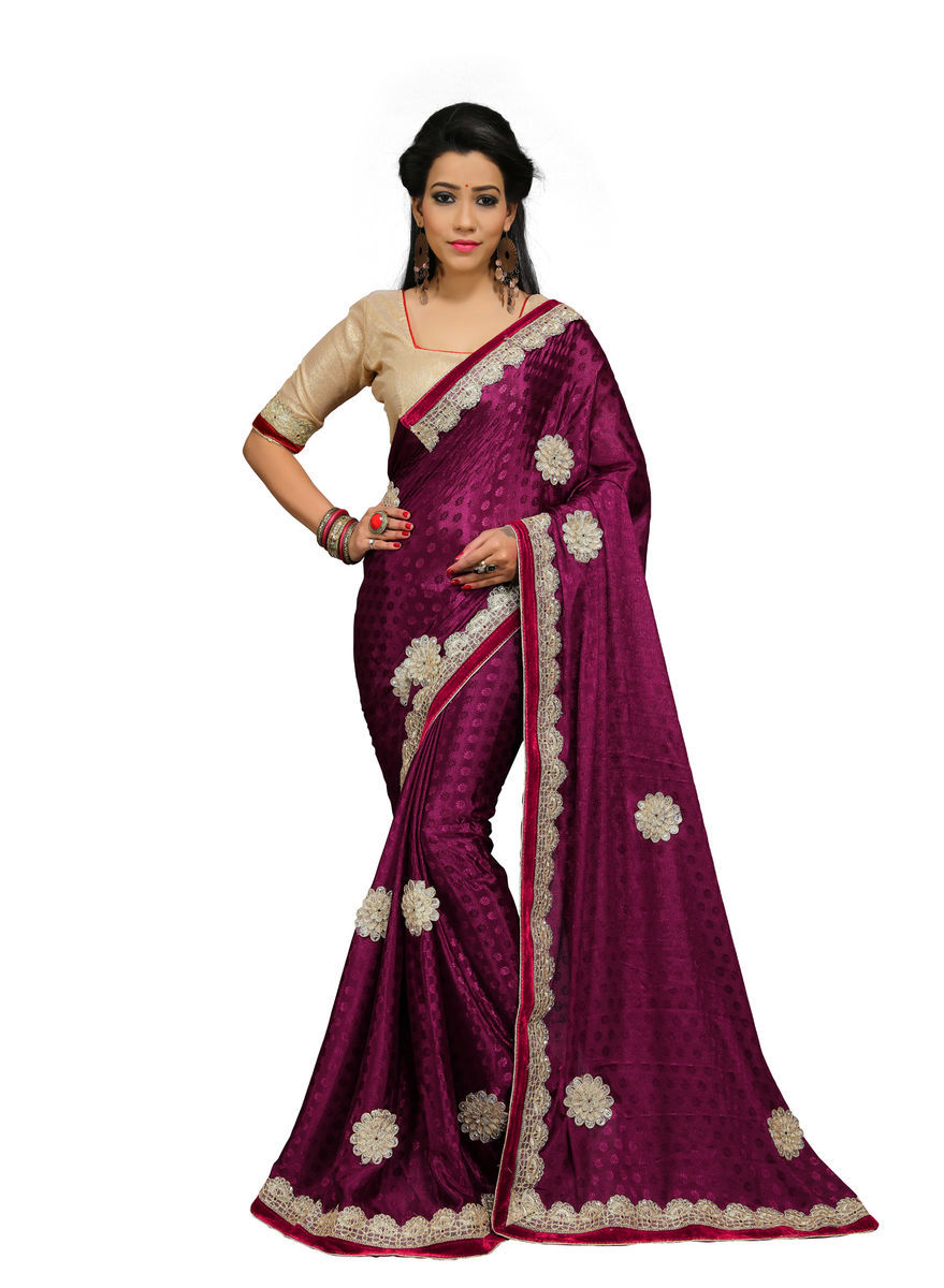 Crepe Patchwork Saree With Blouse