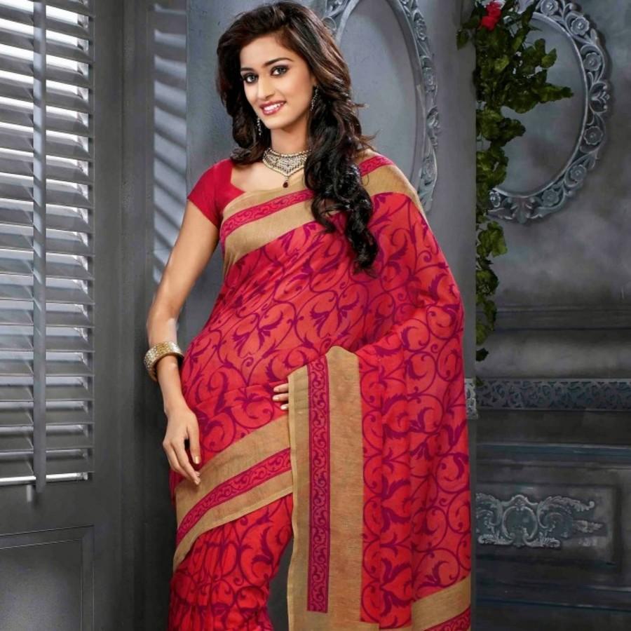 Deep Pink & Maroon Silk Saree