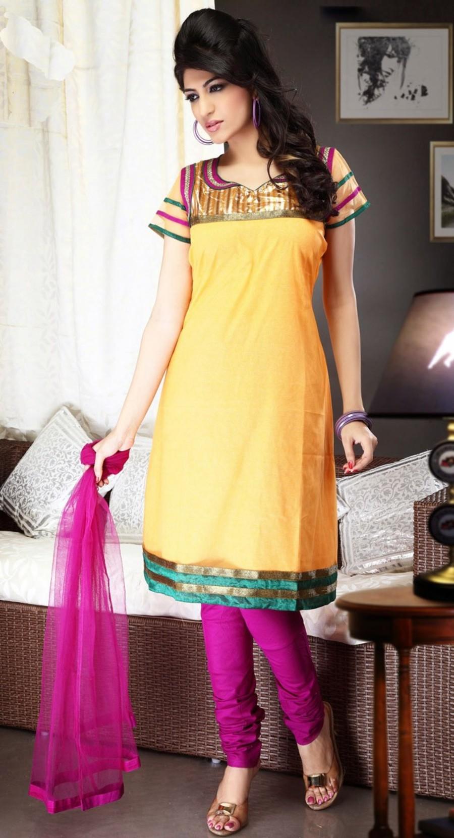 Yellow color Party Wear Rmd Salwar-Brocade Salwar Kameez