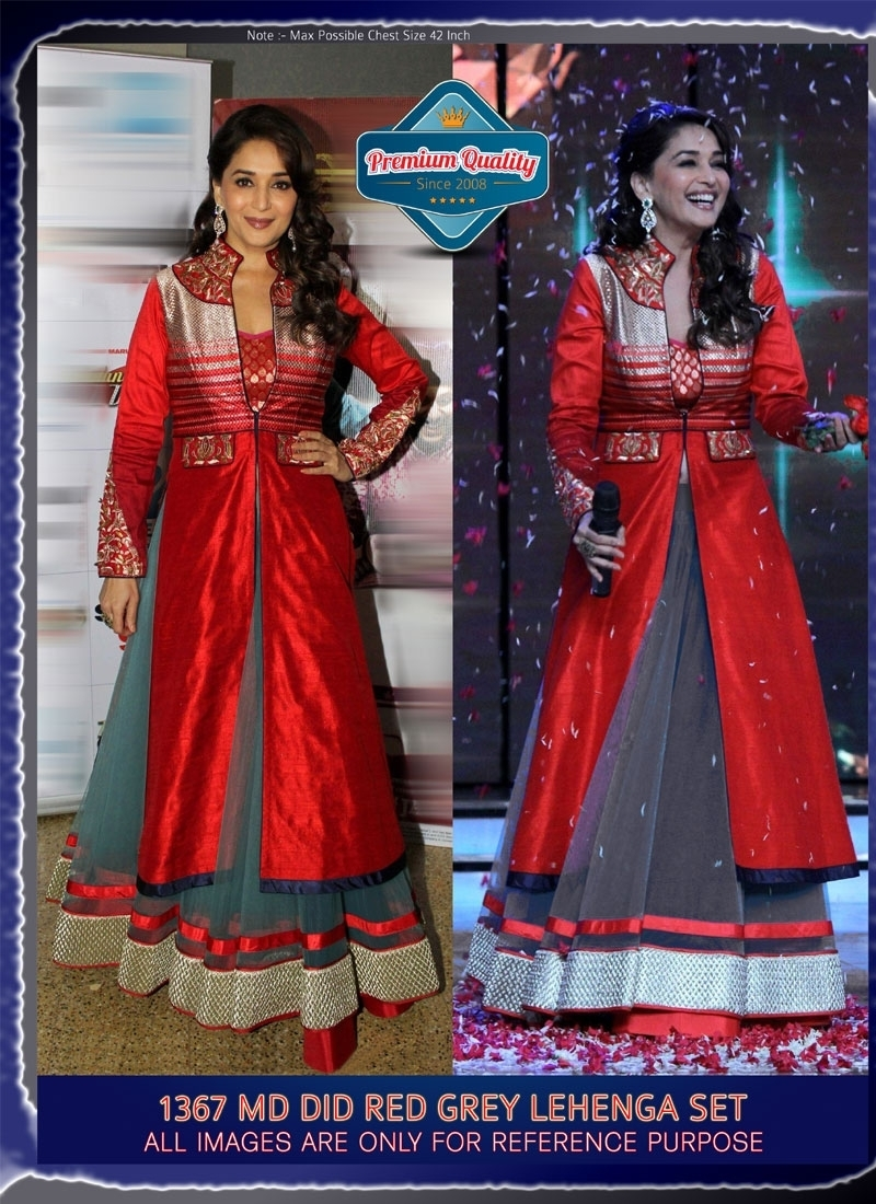 Red and Grey Color Net,Velvet Bollywood Replica Lengha Choli 743-1367