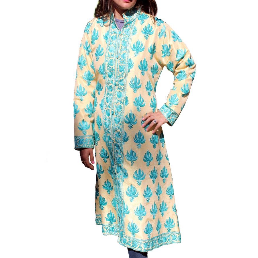 Blue Embroidered Cream Kashmiri Silk Jacket