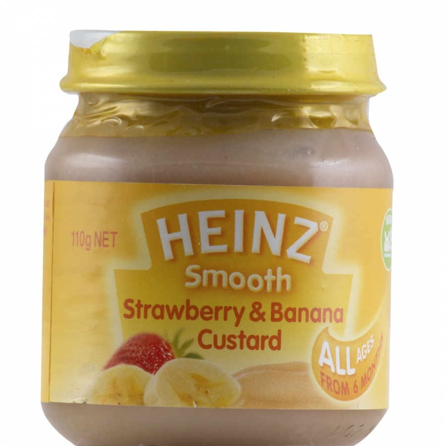 Heinz Smooth Strawberry And Banana Custard 110gm