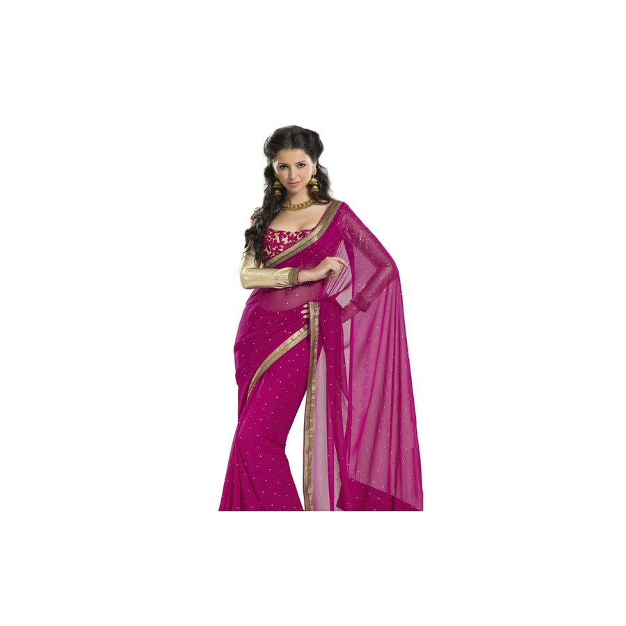 Georgette Saree with Sequins Border