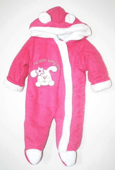 Cheeky Duck Fleece Romper Bright Pink and White Bunny