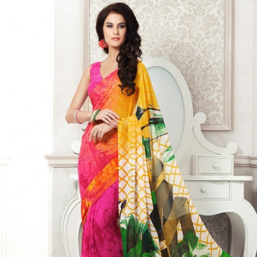Pink & Yellow Georgette Saree
